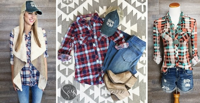 Fall Plaid Button Down Top + M...