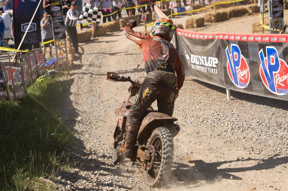 K. Russell came through the finish 1.4 seconds ahead of Baylor to clinch the 13th Annual AMSOIL Snowshoe GNCC win.