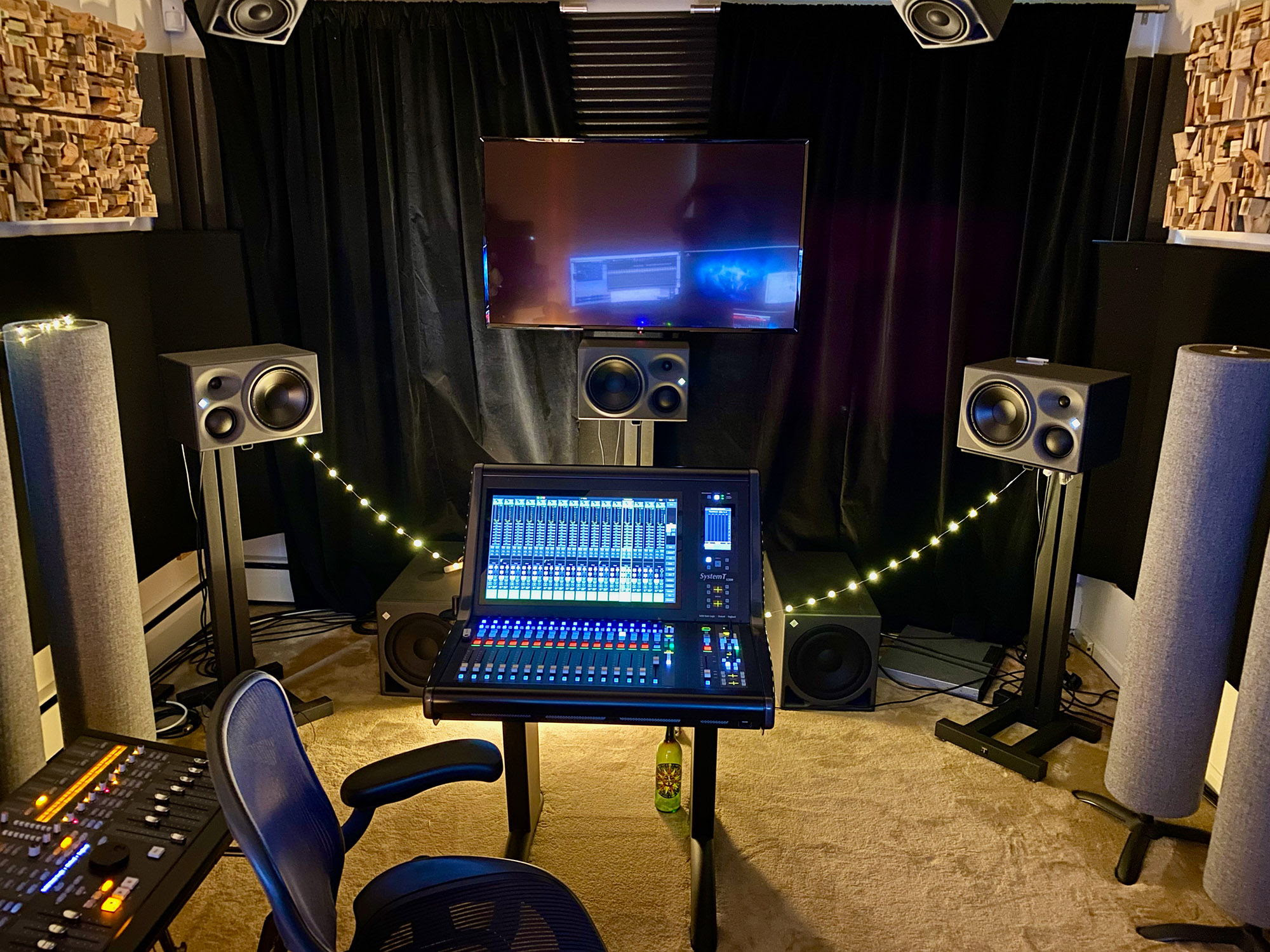 Harris' state of the art mixing environment in Burlington, featuring Neumann monitors.
