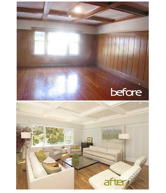 Image result for before and after painting knotty pine walls