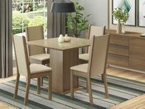 Conjunto de Mesa com 4 Cadeiras Estofadas Madesa