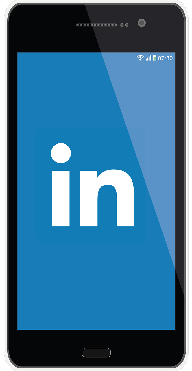 Image of cell phone with linkedin app opening
