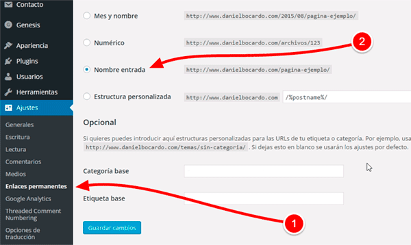 Enlaces permanentes en wordpress.