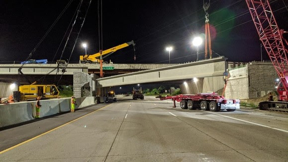 LRT bridge over Highway 494: the bridge is now almost complete with track to be placed in the spring.