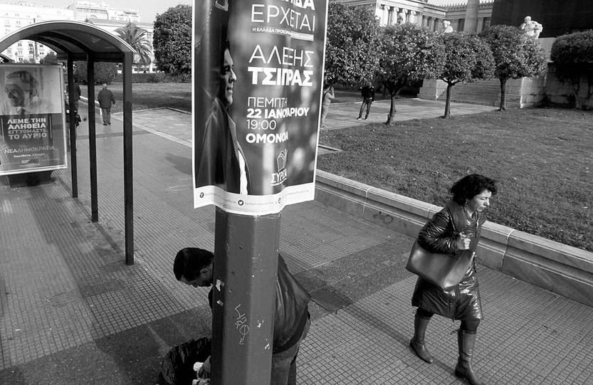 Propaganda electoral del líder de Syriza, Alexis Tsipras, ayer, en Atenas (Grecia). Foto: Orestis Panagiotou, Efe