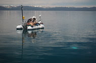 Two researchers watched an OpenROV robotic submarine disappear below the surface of Lake Tahoe near Glenbrook, Nev.