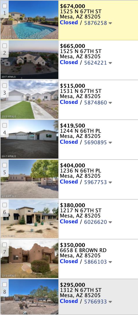 1228 N 67th St Mesa, AZ 85205 comps list