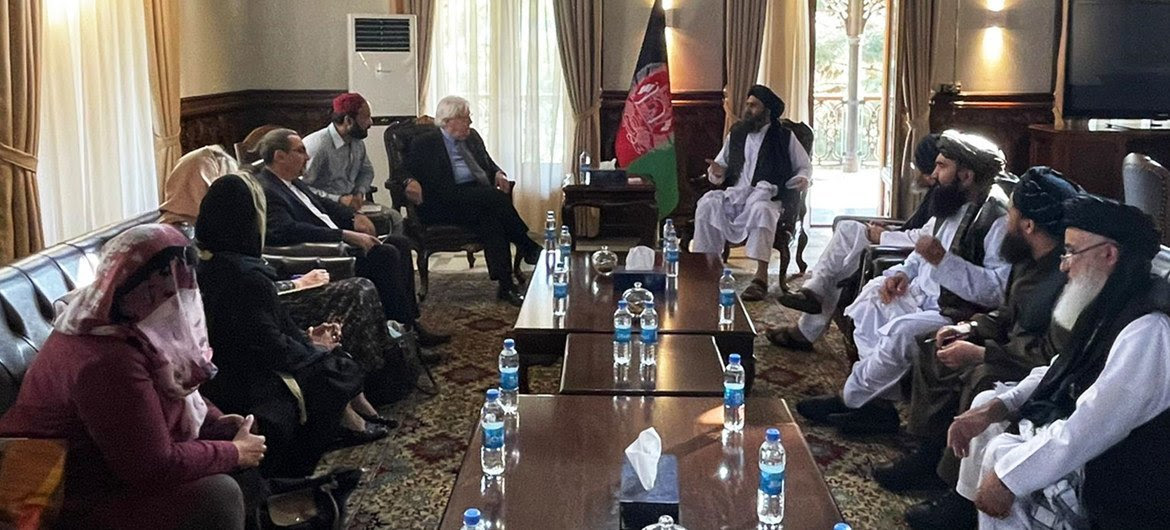 Martin Griffiths, Under-Secretary-General for Humanitarian Affairs and UN Emergency Relief Coordinator, discusses humanitarian issues with the leadership of the Taliban in Kabul, Afghanistan.
