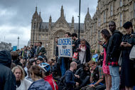 A demonstration in support of the European Union outside Parliament in London on Tuesday.