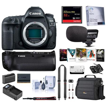EOS 5D Mark IV DSLR Body With Canon BG-E20 Battery Grip - Bundle with 64GB U3 SDHC Card, C