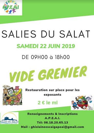 affiche vide grenier à Salies le 22 juin