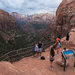 Visitors at the Canyon Overlook in Zion National Park, in southwest Utah, one of the 17 parks targeted for a possible entrance fee increase by the Trump administration.