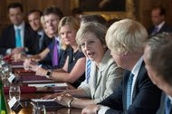 Prime Minister Theresa May of Britain at a meeting with cabinet ministers on Wednesday.