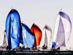 J/70s sailing under spinnaker off Monaco