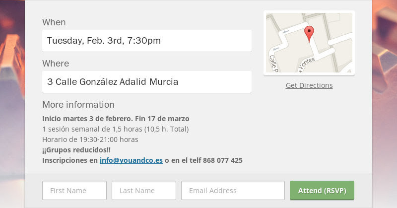When Tuesday, Feb. 3rd, 7:30pm Where 3 Calle González Adalid Murcia More information Inicio martes 3...