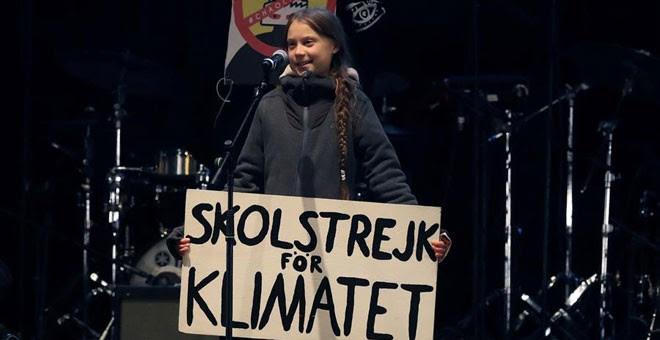 Greta Thunberg, durante su intervención en el cierre de la Marcha por el Clima de Madrid. / EFE
