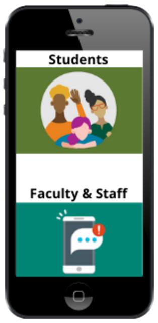 Cell phone with opt-in icons for students and faculty and staff