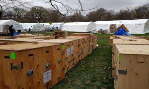 31/03/2020.- Detalle de las cajas que contienen las camas y aparatos respiratorios para el hospital de emergencia en Central Park. / EFE - JORGE FUENTELSAZ