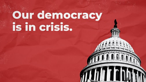Text: Our democracy is in crisis.