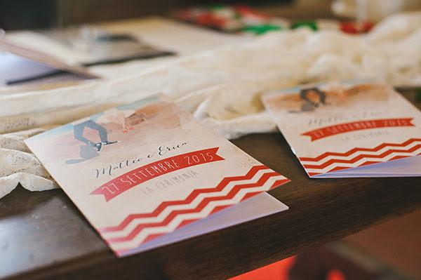 libretti personalizzati per il matrimonio anni 50 con cerimonia civile in Villa Balladoro