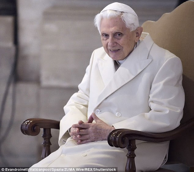 Pope Benedict XVI (pictured) imposed sanctions on McCarrick ordering him to a life of penance but Pope Francis allegedly revoked the sanctions