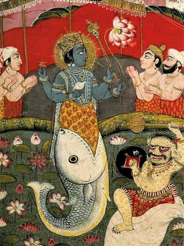Encarnación de Vishnu como un pez, de un texto devocional.