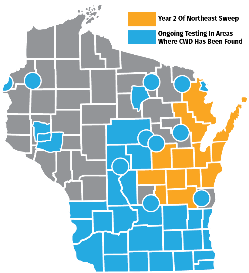 A graphic of a chronic wasting disease (CWD) map.