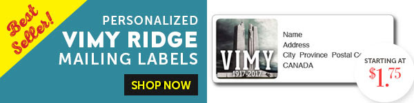 Vimy Ridge Mailing Labels!