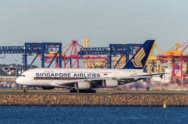 Sydney, Australia - Singapore Airlines Airbus A380 aircraft at Sydney Airport.