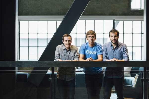 Clever co-founders, left to right, Tyler Bosmeny, Dan Carroll, and Rafael Garcia at the company's San Francisco headquarters in 2015.