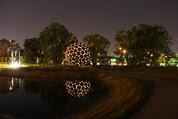sheridan memorial park monument at night