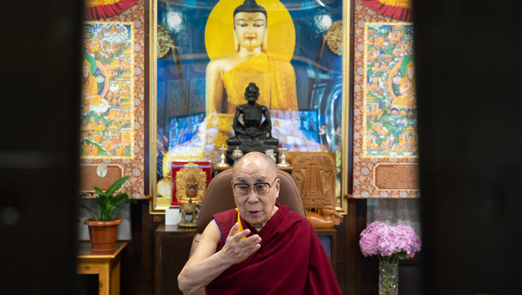 His Holiness the Dalai Lama addressing students from Amity University by video conference from his residence in Dharamsala, HP, India on June 26, 2020. Photo by Ven Tenzin Jamphel
