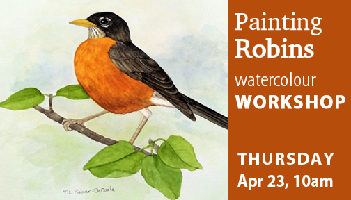 Paintings Robins in Watercolour with Twila Robar-DeCoste, a full day workshop on April 23, 2020