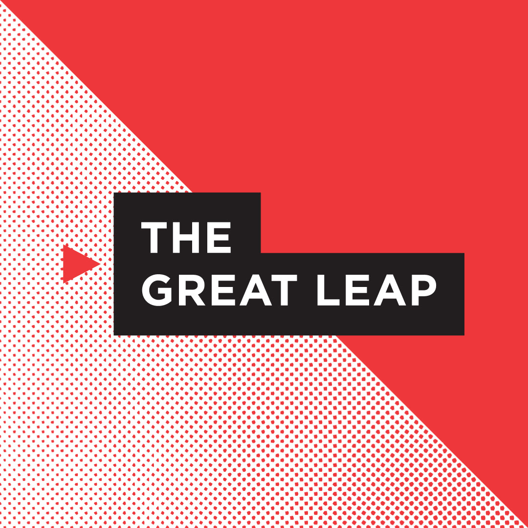 Graphic in red, white and black with title The Great Leap