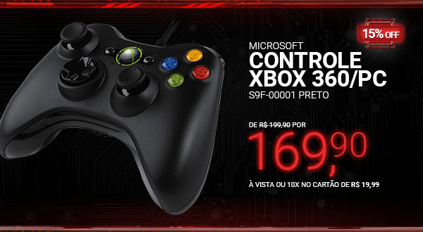 Controle Microsoft Xbox 360/PC S9F-00001 Preto