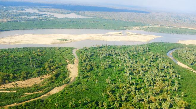 Vista aérea del río Rufiji en la Reserva de Selous en Tanzania
