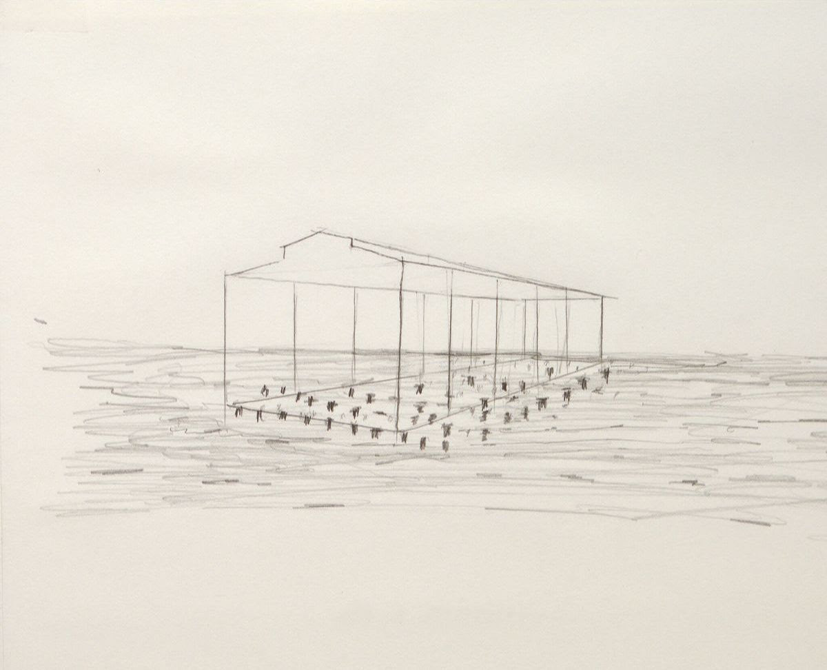 David Hammons, sketch of the proposed project Day's End, 2015