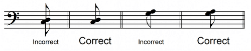 harmonic interval 8th note flags
