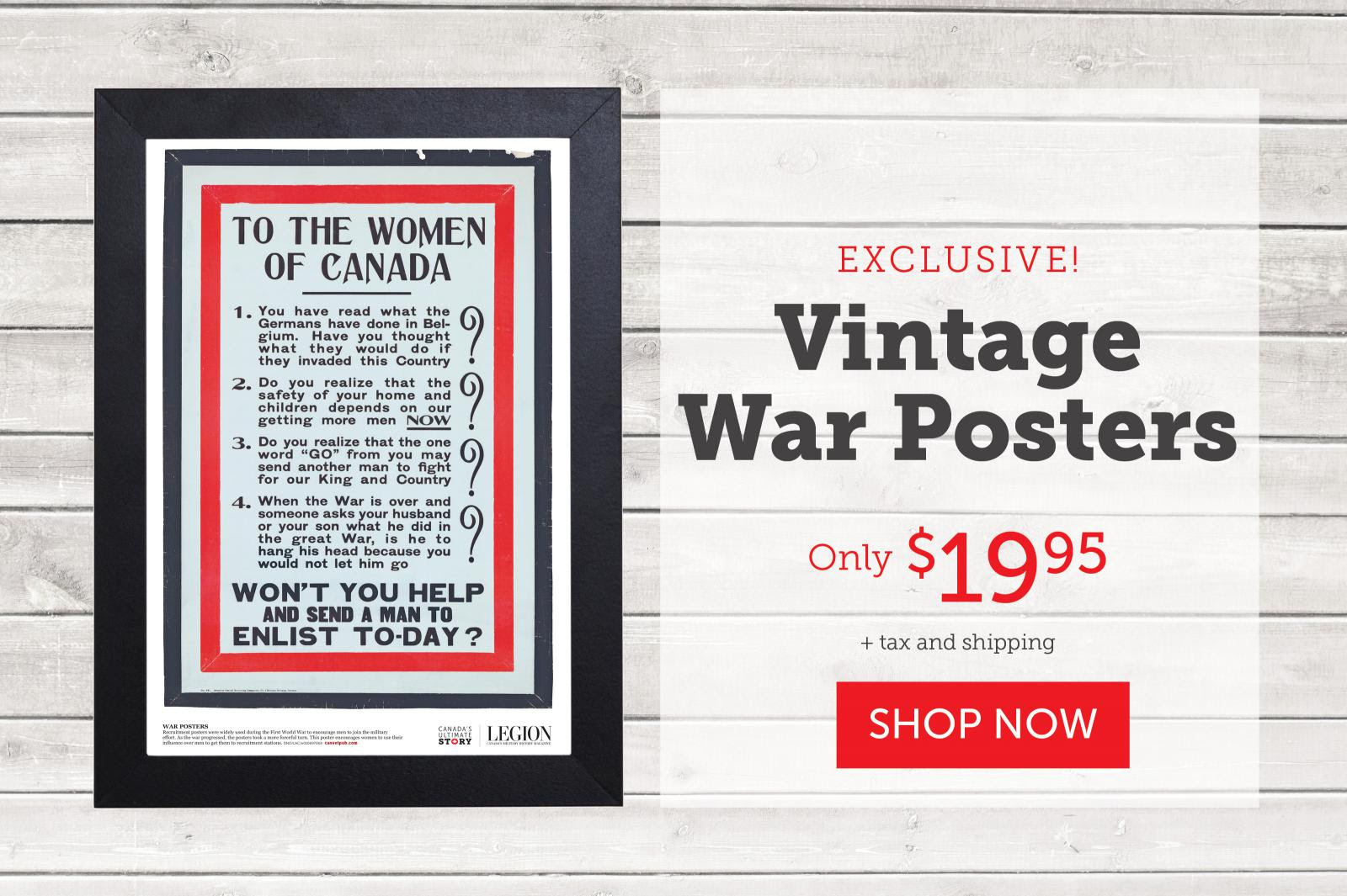 To the women of Canada! Vintage War Poster.