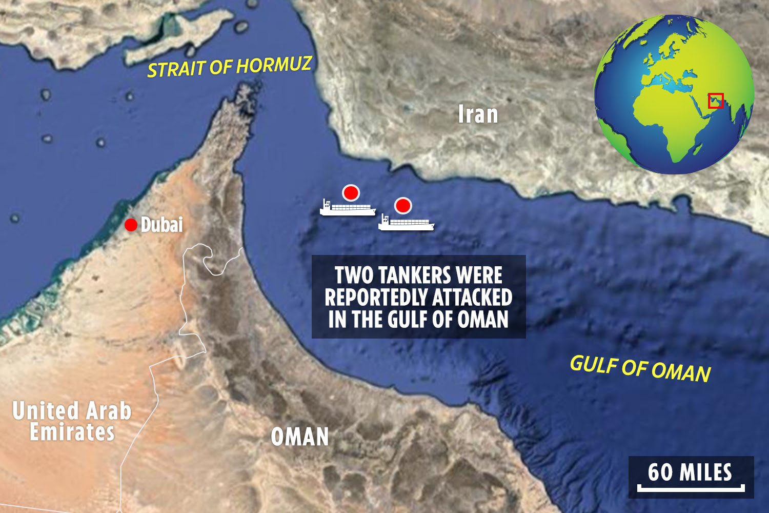 The incident reportedly happened in the Gulf of Oman this morning