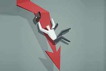 Arrow-graph-going-down-and-businessman-is-falling-down