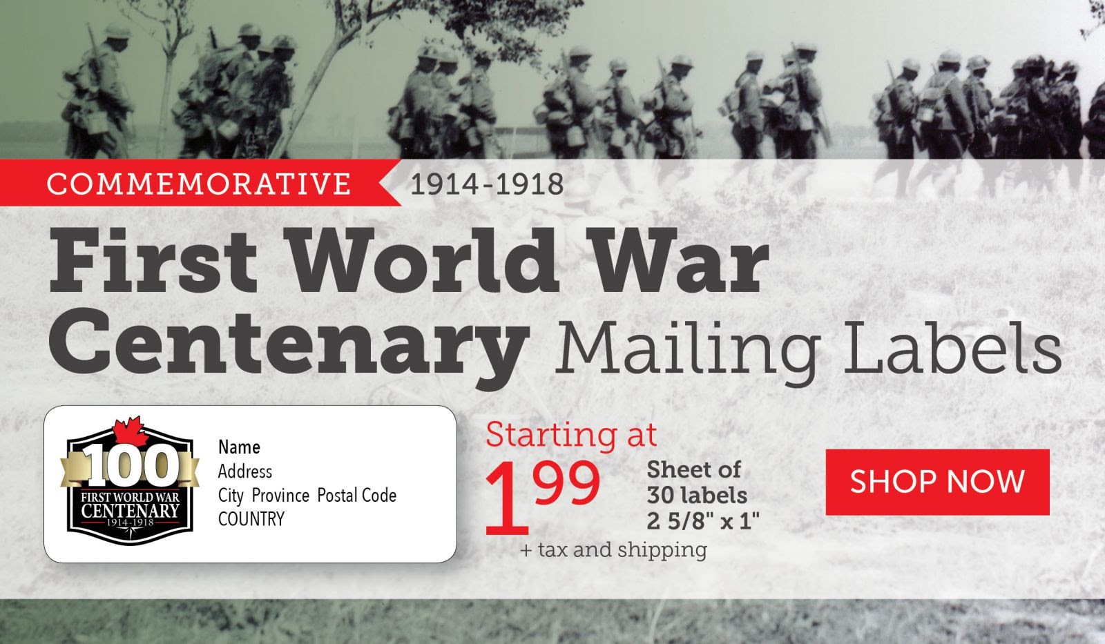 World War I Centenary Mailing Labels for $1.99