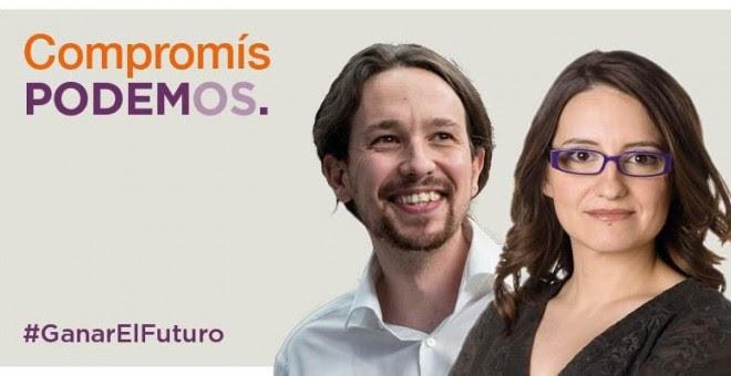 Uno de los carteles de la coalición Compromís-Podemos-Es el moment / Podemos-Compromís-Es el moment