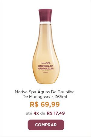 Águas de Baunilha de Madagascar por 69 reais e 99 centavos ou em 4 vezes de 17 reais e 49 centavos. Uma imagem do produto ilustra a campanha.