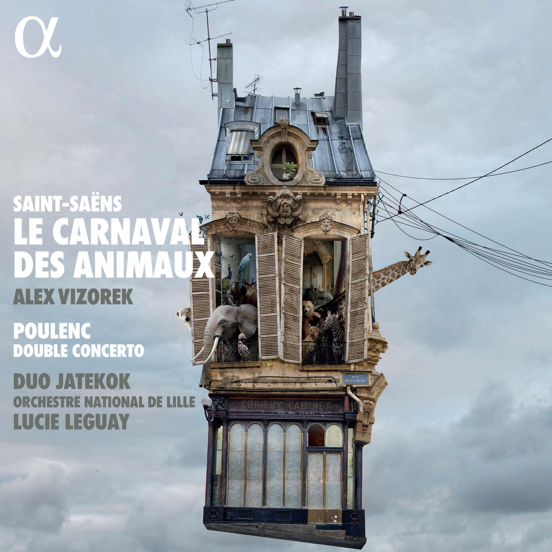 Pochette de l'album« Saint-Saëns. Le Carnaval des animauxet Poulenc. Double concerto», avec Alex Vizorek, le duo Jatekok et l'Orchestre national de Lille sous la direction de Lucie Leguay.