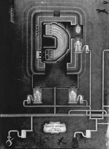 """Dante's Inferno: A Pocket Mural"" by Louis C. Anderson, a rather wonderful and odd drawing of the Calutron process. From Manhattan District History, Book 5, ""Electromagnetic Project,"" Volume 6."