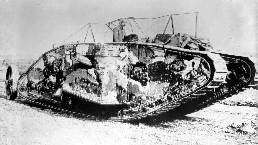 Camouflage developed by artists during World War One (such as on this tank in 1916, with Solomon's design) influenced deception operations in World War Two (Credit: Alamy)