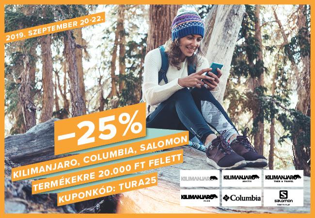 Túrázók hétvégéje -25% kilimanjaro, columbia, salomon termékekre