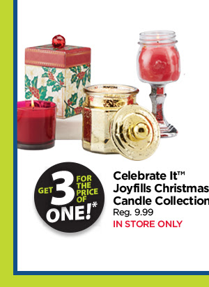 3 for 1 Celebrate It Joyfills Christmas Candle Collection