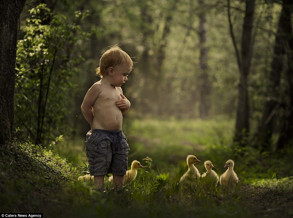 Intimate connection: These adorable photographs capture the tender moments between Vanya and his five-year-old brother Yaroslav and various animals near their home